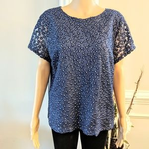Navy Blouse by The Limited Embroidered overlay XL